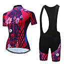 cheap Cycling Jersey & Shorts / Pants Sets-TELEYI Women's Short Sleeve Cycling Jersey with Bib Shorts - White Black Floral / Botanical Bike Clothing Suit Quick Dry Sports Polyester Floral / Botanical Mountain Bike MTB Road Bike Cycling