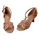 povoljno Cipele za latino plesove-Žene Plesne cipele Saten Cipele za latino plesove Štras Štikle Kubanska potpetica Moguće personalizirati Braon / Seksi blagdanski kostimi / Koža