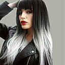 cheap Synthetic Capless Wigs-Synthetic Wig Natural Straight Kardashian Style Asymmetrical Capless Wig Black Black / White Synthetic Hair 24 inch Women's New Arrival / Ombre Hair / Natural Hairline Black Wig Very Long MAYSU