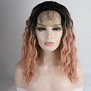 cheap Synthetic Capless Wigs-Synthetic Lace Front Wig Women's Curly Ombre Free Part 180% Density Synthetic Hair 12-16 inch Adjustable / Heat Resistant / Elastic Ombre Wig Short Lace Front Black / Pink