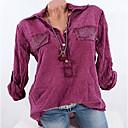 رخيصةأون تي في بوكس-نسائي قميص قبعة القميص - أساسي كشكش / موضة هندسي رمادي XXXL / الربيع / الصيف / الخريف / الشتاء