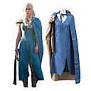 billige Film & TV-kostymer-Game of Thrones Dragon Mother Daenerys Targaryen Drakter Unisex Film-Cosplay Blå Tuner Halloween Karneval Maskerade 100% Polyester Ren Twill