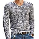 billige Kjoleur-V-hals Tynd Herre - Ensfarvet Trykt mønster Basale T-shirt / Langærmet / Forår / Efterår