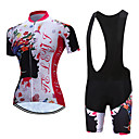 cheap Cycling Jersey & Shorts / Pants Sets-TELEYI Short Sleeve Cycling Jersey with Bib Shorts - White / Black Bike Breathable, Quick Dry Floral / Botanical / Stretchy