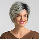 cheap Costume Wigs-Synthetic Wig Women's Natural Straight Black Bob / Pixie Cut Synthetic Hair 10 inch Fashionable Design / New Arrival / Ombre Hair Black / Gray Wig Mid Length Capless Black / Grey MAYSU
