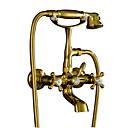 preiswerte Badewannen Armaturen-Badewannenarmaturen - Antike Ti-PVD Wandmontage Messingventil Bath Shower Mixer Taps / Zwei Griffe Zwei Löcher
