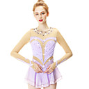 cheap Projectors-Figure Skating Dress Women's Girls' Ice Skating Dress Violet Spandex Stretch Yarn High Elasticity Skating Wear Handmade Fashion 3/4 Length Sleeve Ice Skating Winter Sports Figure Skating