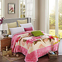cheap Floral Duvet Covers-Coral fleece, Reactive Print Flower Polyester / Polyamide Blankets