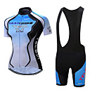 cheap Cycling Jersey & Shorts / Pants Sets-TELEYI Women's Short Sleeve Cycling Jersey with Bib Shorts White Black Gradient Bike Clothing Suit Breathable Moisture Wicking Quick Dry Sports Polyester Gradient Mountain Bike MTB Road Bike Cycling