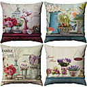 cheap Slipcovers-4 pcs Cotton / Linen Pillow Cover, Floral Pattern Floral Print Flower Patterned