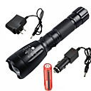 cheap Flashlights & Camping Lanterns-UltraFire LED Flashlights / Torch LED LED 1 Emitters 2200/1000 lm 5 Mode with Battery and Chargers Waterproof, Adjustable Focus, Rechargeable Camping / Hiking / Caving, Everyday Use, Working Black