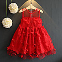 cheap Women-Kids Girls' Sweet / Street chic Daily / Going out Solid Colored / Patchwork Mesh / Patchwork Sleeveless Rayon / Polyester Dress Red