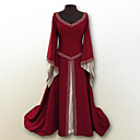 cheap Men's & Women's Halloween Costumes-Retro / Vintage Medieval Costume Women's Dress Red / Green / Blue Vintage Cosplay Polyster Party Prom Long Sleeve Flare Sleeve Floor Length Long Length Plus Size