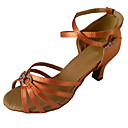 preiswerte Latein Schuhe-Damen Schuhe für den lateinamerikanischen Tanz Satin Sandalen Crystal / Strass Keilabsatz Tanzschuhe Purpur / Knackmandel / Braun