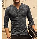 זול חולצות רכיבת אופניים-אחיד צווארון V בסיסי / סגנון רחוב טישרט - בגדי ריקוד גברים ורוד מסמיק L / שרוול ארוך