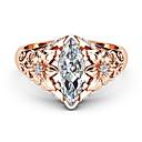 Χαμηλού Κόστους Μοδάτο Δαχτυλίδι-Γυναικεία Λευκό Διαμάντι Cubic Zirconia Κλασσικό Δακτύλιος Δήλωσης Δαχτυλίδι Με Επίστρωση Ροζ Χρυσού Λουλούδι Πολυτέλεια Μοναδικό Μοδάτο Δαχτυλίδι Κοσμήματα Χρυσό Τριανταφυλλί Για