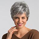halpa Synteettiset peruukit ilmanmyssyä-Ihmisen hiukset Capless Peruukit Aidot hiukset Luonnollinen suora Pixie-leikkaus Muodikas malli / Helppo pukeutuminen / Mukava Tumman harmaa Lyhyt Suojuksettomat Peruukki Naisten