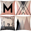 cheap Pillow Covers-4 pcs Cotton / Linen Pillow Cover, Lines / Waves Patterned Geometic Geometric Patterned