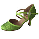 billige Brudesko-Kan spesialtilpasses-Dame-Dansesko-Latinamerikansk Moderne Standard sko-Glimtende Glitter-Kustomisert hæl-Grønn