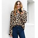 cheap Historical & Vintage Costumes-Women's Plus Size Cotton Shirt - Leopard V Neck Black XXL