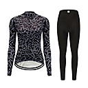 cheap Cycling Jersey & Shorts / Pants Sets-FirtySnow Women's Long Sleeve Cycling Jersey with Tights Black Bike Clothing Suit Breathable Moisture Wicking Quick Dry Sports Polyester Reactive Print Mountain Bike MTB Road Bike Cycling Clothing