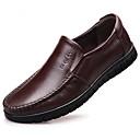 رخيصةأون أحذية سليب أون وأحذية مفتوحة للرجال-رجالي أحذية الراحة جلد ربيع & الصيف المتسكعون وزلة الإضافات أسود / بني فاتح / بني داكن