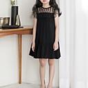 hesapli Yüzük Yastıkları-Çocuklar Genç Kız sevimli Stil Günlük Solid Fırfırlı Kolsuz Diz üstü Elbise Siyah