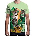 preiswerte Ballettbekleidung-Herrn Tier - Street Schick T-shirt, Rundhalsausschnitt Druck Tropisches Blatt Grün XL / Kurzarm