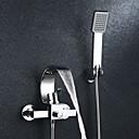 baratos Torneiras de Banheira-Torneira de Chuveiro / Torneira de Banheira - Moderna Cromado Montagem de Parede Válvula Cerâmica Bath Shower Mixer Taps