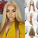 cheap Synthetic Lace Wigs-Synthetic Lace Front Wig Straight Style Side Part Lace Front Wig Blonde Blonde Synthetic Hair 24-26 inch Women's Blonde Wig Long Natural Wigs / Yes