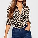 halpa Lattarikengät-Naisten Paitapuserokaula-aukko Leopardi Paita Ruskea