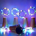 ราคาถูก สายไฟ LED-6 ชิ้น 2 เมตร 20led พลังงานแสงอาทิตย์ไวน์ขวดจุกรูป led ลวดทองแดง s tring เทศกาลกลางแจ้งนางฟ้าไฟพวงมาลัย