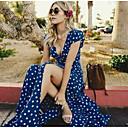 رخيصةأون بدل الزينتاي-فستان نسائي متموج بوهو أنيق طباعة طويل للأرض منقط منخفضة V رقبة مناسب للعطلات شاطئ