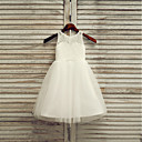 cheap Women-A-Line Tea Length Flower Girl Dress - Lace / Satin / Tulle Sleeveless Jewel Neck with Solid by
