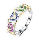 baratos Anéis-Mulheres Zircônia Cubica Anel de banda Coração Onda Estiloso Europeu Romântico Anéis Jóias Vermelho / Verde / Azul Para Casamento Presente Encontro 6 / 7 / 8 / 9 / 10