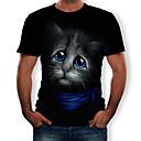 cheap 3D Puzzles-Men's T-shirt - 3D / Animal Print Round Neck Black XL