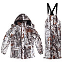 cheap Softshell, Fleece & Hiking Jackets-Men's Camo Hiking Jacket with Pants Outdoor Winter Windproof Breathability Wearable Winter Jacket Top Single Slider Hunting Camping / Hiking / Caving Back Country White