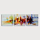 preiswerte Abstrakte Gemälde-Hang-Ölgemälde Handgemalte - Abstrakt Modern Fügen Innenrahmen / Drei Paneele