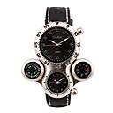 levne Vojenské hodinky-Oulm Pánské Sportovní hodinky japonština Křemenný Kůže Černá Teploměr Kompas Hodinky s dvojitým časem Analogové Luxus - Bílá Černá Jeden rok Životnost baterie