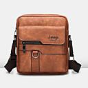 رخيصةأون Smartphones-رجالي أكياس PU حقيبة الكتف سحاب لون الصلبة أسود / برتقالي / بني
