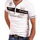 abordables Collar Hombre-Hombre Talla EU / US Estampado Camiseta, Escote en Pico Letra Azul Piscina L
