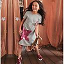 preiswerte Kleider für Mädchen-Kinder Mädchen Süß Cartoon Design Kurzarm Polyester Kleid Rosa