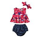 levne Dětské šatičky-Dítě Dívčí Aktivní Květinový Bez rukávů Standardní Polyester Sady oblečení Rubínově červená