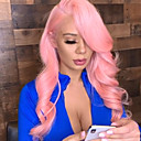 economico Parrucche sintetiche con retina-Parrucche Lace Front Sintetiche Ondulato Kardashian Stile Taglio scalato Lace frontale Parrucca Rosa Rosa Capelli sintetici Per donna arricciatura Rosa Parrucca Lunghezza media / Sì