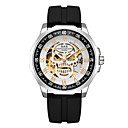 cheap Slipcovers-Men's Dress Watch Quartz Silicone Black Hollow Engraving Shock Resistant Cool Analog Luxury Skull - Blue Golden+Black Gold / Silver / Black One Year Battery Life