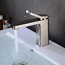 ราคาถูก ก๊อกอ่างล้างหน้าในห้องน้ำ-ก๊อกน้ำอ่างล้างจานห้องน้ำ - กระจาย Nickel Brushed ตัวเจาะนำศูนย์ จับเดี่ยวหนึ่งหลุมBath Taps