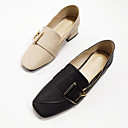 cheap Women's Slip-Ons & Loafers-Women's Nappa Leather Spring & Summer Casual / Minimalism Loafers & Slip-Ons Chunky Heel Square Toe Buckle Black / Beige