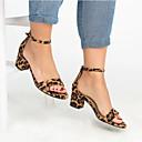 ieftine Portbagaje & suporturi-Pentru femei Imitație Piele Vară Casual Sandale Toc Îndesat Vârf deschis Galben / Rosu / Leopard