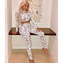 abordables blush-Femme Basique Court Set - Géométrique Taille haute Pantalon Col Ras du Cou / Sexy