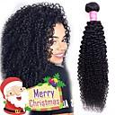 Недорогие Накладки из неокрашенных волос-4 Связки Бразильские волосы Kinky Curly человеческие волосы Remy Человека ткет Волосы Пучок волос One Pack Solution 8-28inch Естественный цвет Ткет человеческих волос Простой Без запаха Модный дизайн